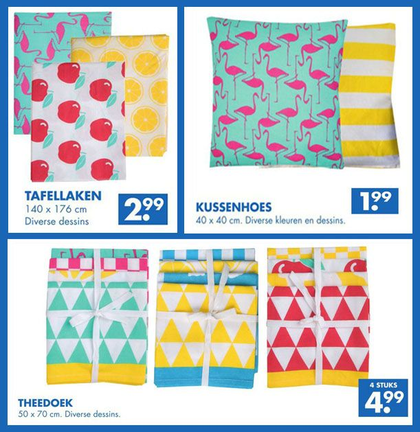Zeeman heeft textiel met reuzehippe printjes. O.a. kussenslopen met roze flamingo's (cute!) en theedoeken met gekleurde driehoekjes (vrolijk in de keuken!)