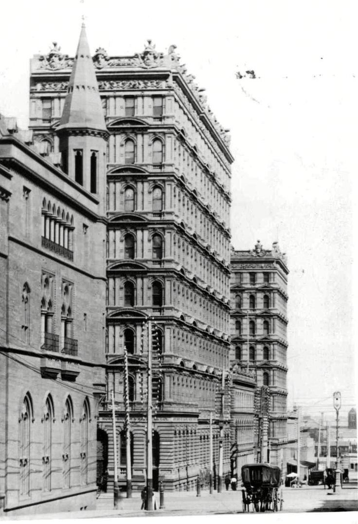 Prells Building 3 (front) & 1 (back), F M White and Sons, Queen Street, Melbourne, 1889-90 for Wilhelm Prell