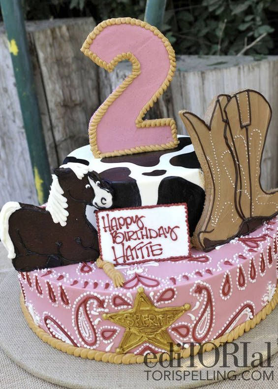 Pink country western birthday cake