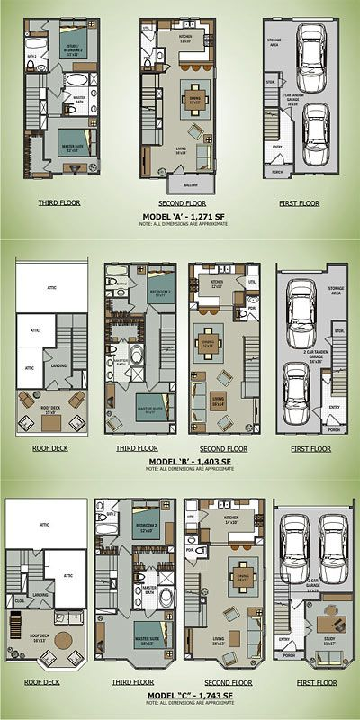 Floor Plans of the Sawyer Brownstones, 2110 Shearn St., Houston
