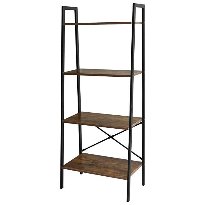 Lasuavy 4 Tier Ladder Shelf Bookcase Multifunctional Book Rack