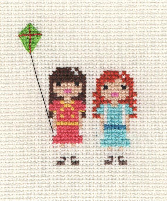 Family Custom Pixel Cross Stitch Portrait Framed by ScarletPyjamas