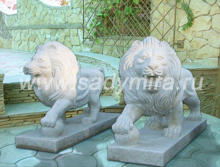 Скульптура каменная Львы с шаром продажа