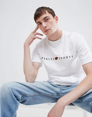 105ae8d70 Parlez T-Shirt With Embroidered Sport Box Logo In White | me ...