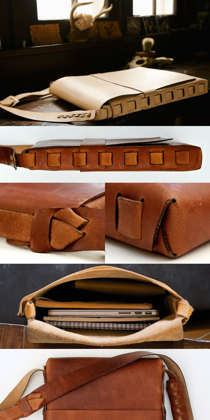 PACT Satchel - A simple and classic everyday shoulder bag. It is constructed of literally nothing but leather. No buckles or knobs or latches. No thread and no glue. Just premium Horween Cognac or Natural veg-tanned leather, cut with extreme precision, and tightly woven together with its own adjustable strap. Made in Spokane, WA.