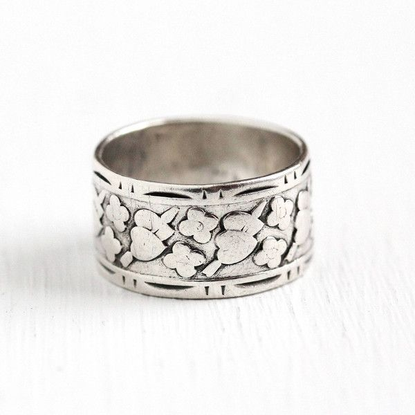 Vintage Cigar Band Sterling Silver Wide Flower Heart Eternity Ring... ($65) ❤ liked on Polyvore featuring jewelry, rings, eternity band ring, vintage rings, sterling silver charms, vintage sterling silver rings and sterling silver flower ring