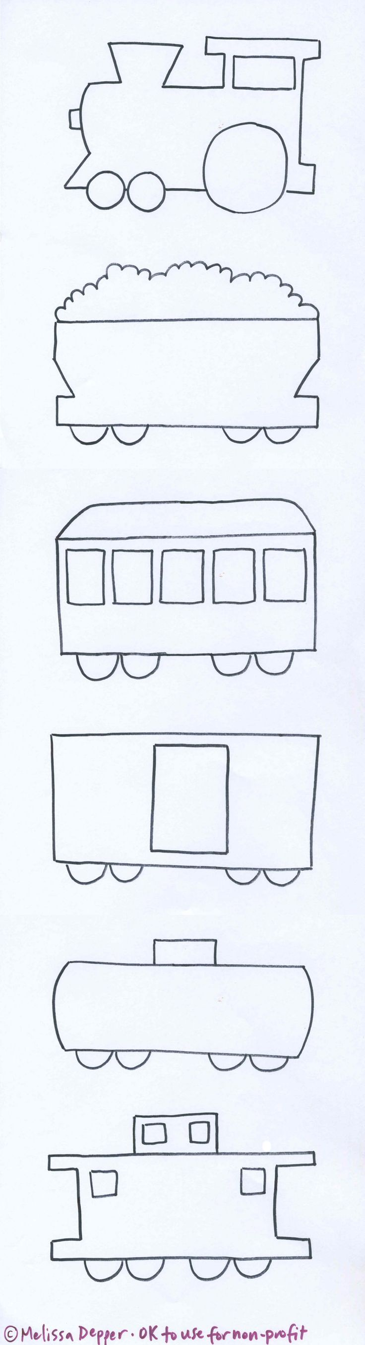 Train boxcar coloring pages - Molde De Un Tren Y Sus Diferentes Vagones Train And Templates