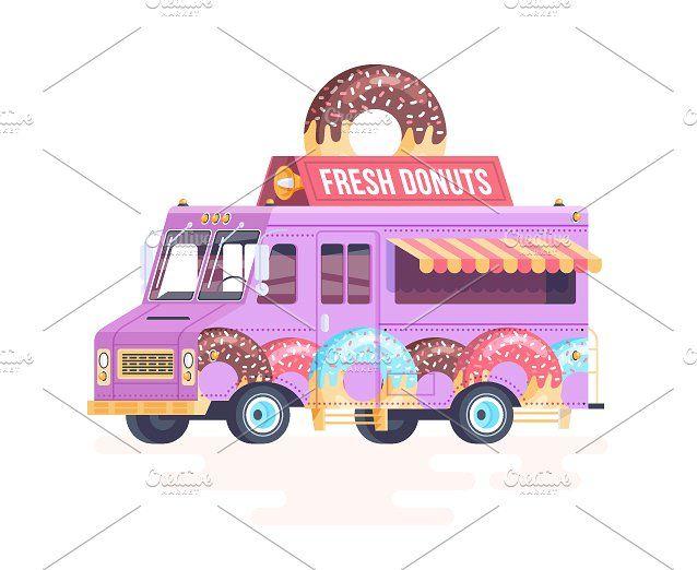 Cartoon Food Truck Donuts Food Truck Vintage Truck Nursery