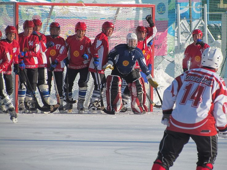Kyrgyzstan and Japan were the newcomers for the XXXIInd championship in 2012. Here, the Kyrgyzstan team defend their goal when Japan is about to make a corner stroke. Kyrgyzstan has yet to make another world championship appearance.