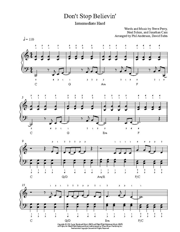 Dont Stop Believing Piano Chords K Ip 2018