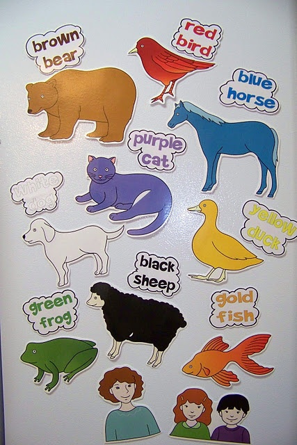 """Printables"" - Another Fantastic Activity Pack for ""Brown Bear, Brown Bear What Do You See"" by Bill Martin Jr. and Eric Carle.  Includes magnet cutouts, colour and word identification."