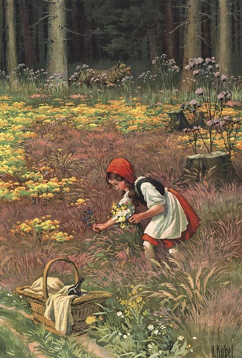 Rotkäppchen 6 Faksimile O. Kübel Rarität 1910 Märchen