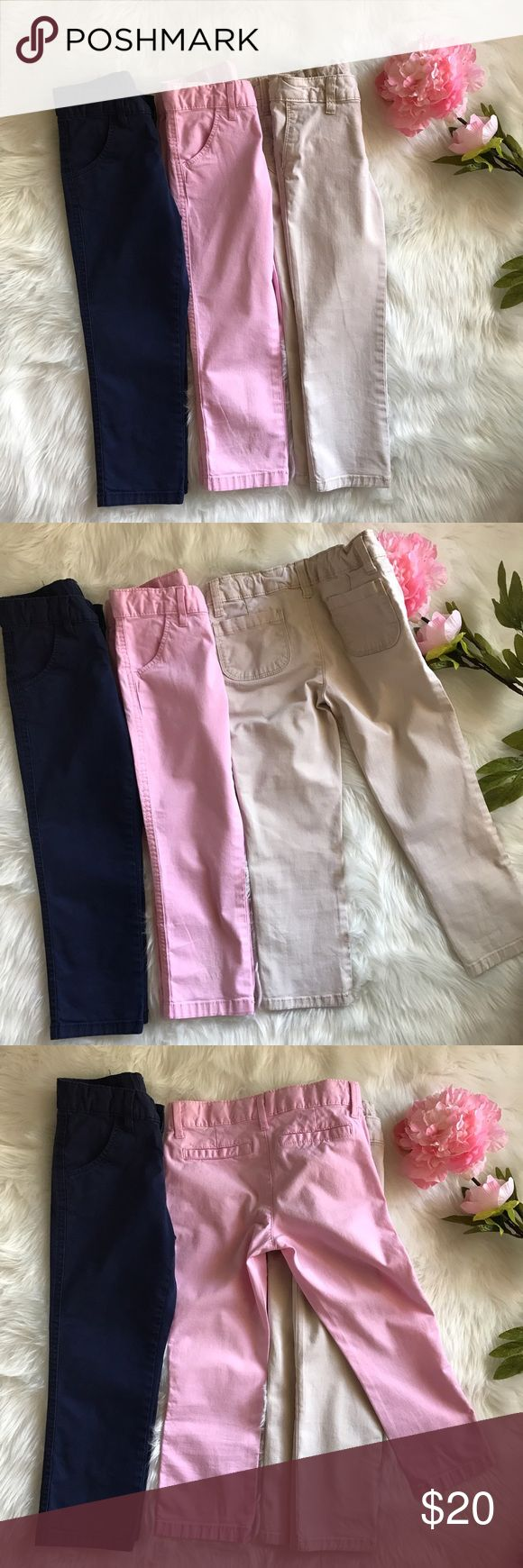 Girls Capris - Bundle of 3 Bundle of three capri pants. Size: 6 (Girls). In good condition. Colors: Navy Blue, Pink, and Khaki/Beige.  Beige pair has a tiny brown stain on the back of the right leg (pic #5). Also, the adjustable waist band has unraveled on the right side and only the first button hole works (pic #6). Pink pair has three tiny black stains on the bottom front of the left leg (pic #7). Faded Glory Bottoms Casual