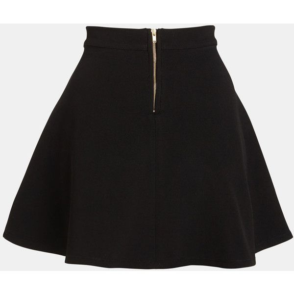 Parker Skater Skirt ($95) ❤ liked on Polyvore featuring skirts, black, ponte skater skirt, ponte knit skirt, stretch skirts, stretchy skirts and circle skirt