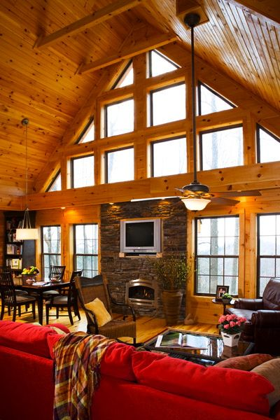 Linville Great Room built by Blue Ridge Log Cabins Maybe we could use some extension poles for the ceiling fans so they are further from the ceiling?