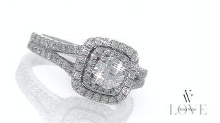 My dream ring!! Vera Wang LOVE Collection 1-1/2 CT. T.W. Diamond Frame Split Shank Engagement Ring in 14K White Gold - View All Rings - Zales