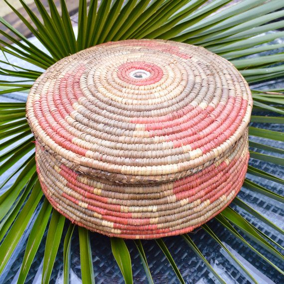 Large Tribal African Basket with Fitted Lid.  Tightly by TeaJay