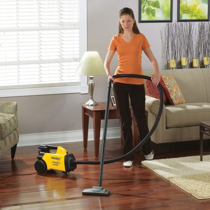 This is the BEST vacuum for hard wood floors or tiled floors! Best vacuum for pet hair too! Light weight, long cord, long handle easily reaches under furniture. By far the best vacuum I've ever owned for hard surfaces!! Does not do well on carpet though.  Amazon.com - Eureka 3670G Mighty Mite Canister Vacuum - Household Canister Vacuums  #woodfloorvacuum #vacuumforpethair #bestvacuumforwoodfloors
