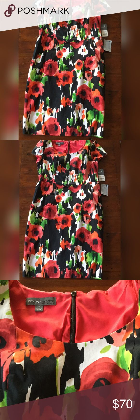 "Donna Ricco Dress Donna Ricco New York dress purchased at Nordstrom and is brand new with tags.   Color is black and watermelon with some green and white, and has cap sleeves.  Pocket on each side of the front. Top half has a red lining inside.  Zips up in back (top half).  Material: 97% cotton and 3% spandex Measurements: Bust approx 20"" and length approx 40"".  Size 14. Donna Ricco Dresses Midi"