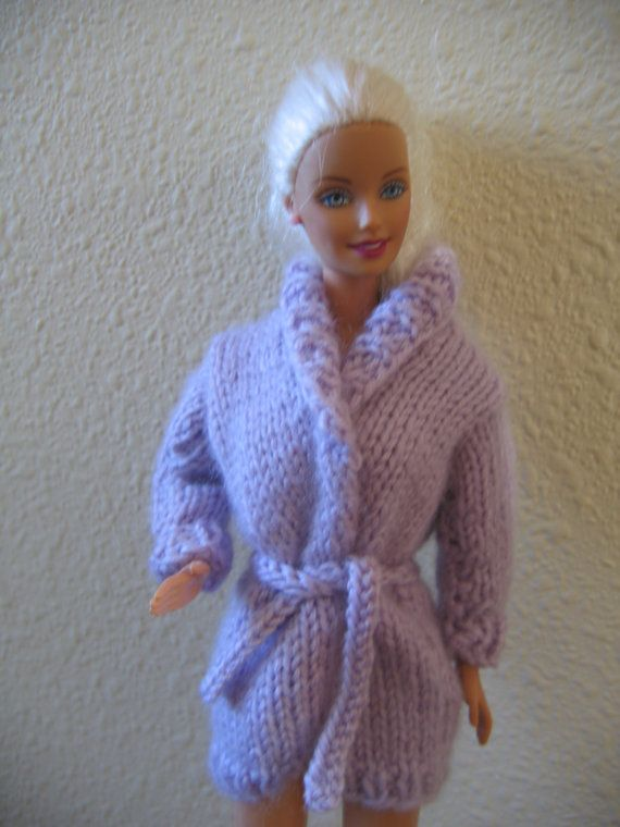 Free Knitting Patterns For Ken Doll Clothes : Barbie Doll Clothes Long Lavender Cardigan Sweater Jacket Doll Clothes fits 1...