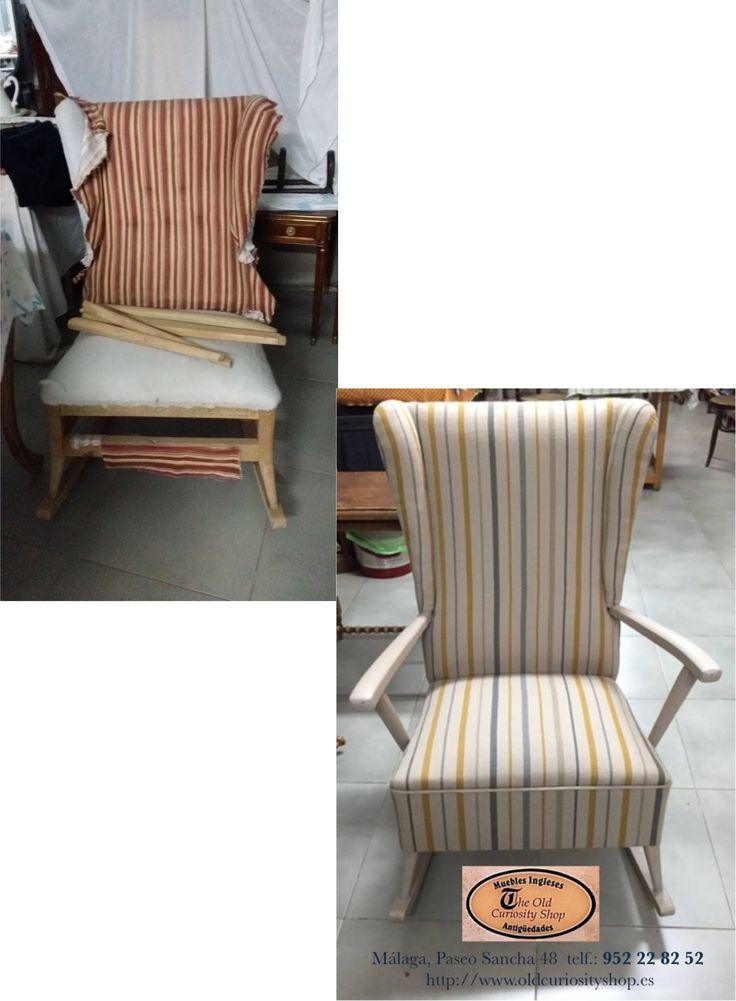 Mecedora vintage pintada y tapizada m laga - Restauracion muebles vintage ...