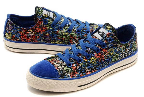 Blue Converse Enamel Embroidery Noise Chuck Taylor Multi Colors Low Shoes # converse #shoes