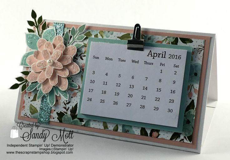 Stampin' Up! Flower Patch desktop calendar - created by Sandy Mott