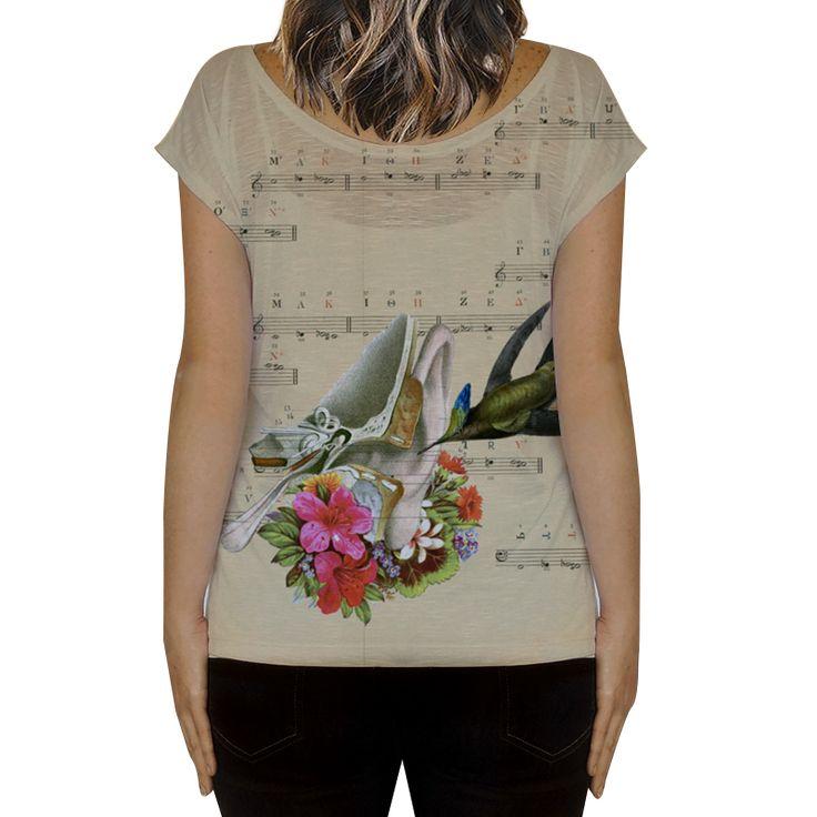 Compre Sweet Little Song de @lagostadesregrada em camisetas fullprint de alta qualidade. Incentive artistas independentes, encontre produtos exclusivos. #colagem #partitura #floral #music #amor #vintage #musica #beijaflor #love #anatomia #tshirt #camiseta #flores #Hummingbird