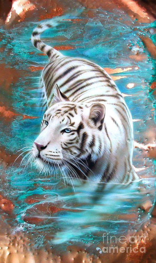 Copper White Tiger Painting  Sandi Baker