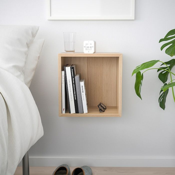Eket Wall Mounted Shelving Unit White Stained Oak Effect Width 13 3 4 Height 13 3 4 Order Today Ikea Wall Mounted Shelving Unit Wall Mounted Shelves Flexible Furniture #wall #mounted #shelves #living #room