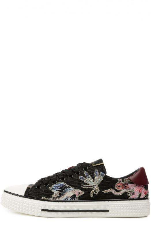 Кожаные кеды Animali Fantastici с вышивкой ValentinoКеды
