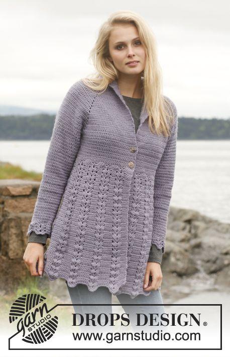 "Crochet DROPS jacket with fan pattern, raglan and shawl collar in ""Karisma"". Size: S - XXXL. ~ DROPS Design"