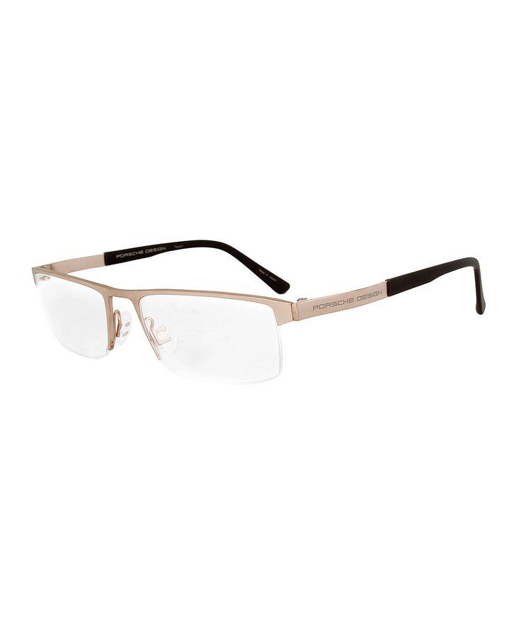 Matte Gold Half-Rim Rectangle Eyeglasses