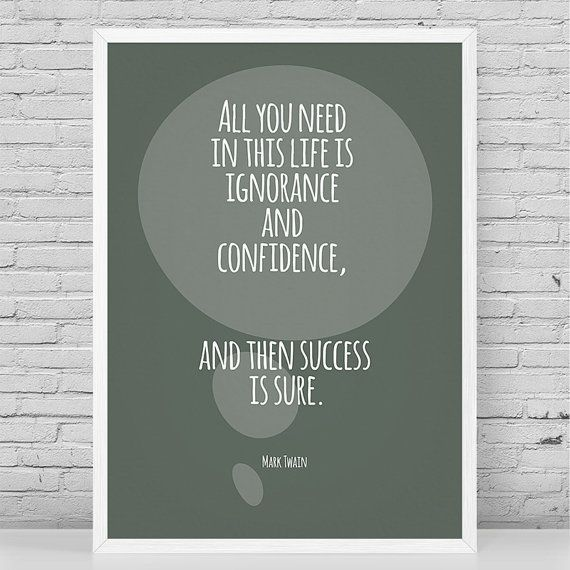 Mark Twain Quote Confidence Quote Literature by paperprintsandmore