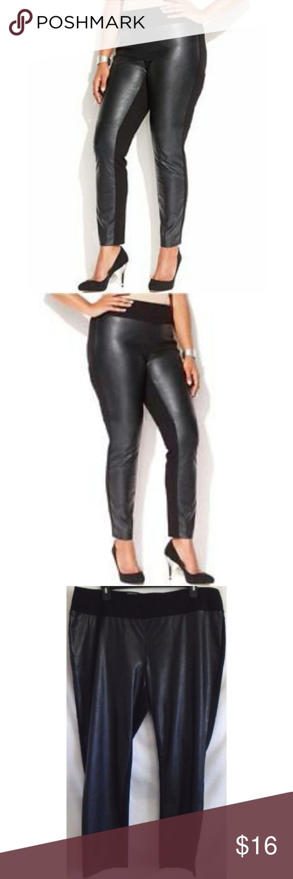 *MEGA SALE* INC Faux Leather Pants NWT $70 24W INC Sexy Faux Leather Skinny Pants 24W NWT $70 Black faux leather skinny pants. Soft faux leather and ponte back. Classic rise sits on natural waist. Stretch pants elastic waistband. 65% rayon /30% nylon 5% spandex. Machine wash. NWT $69.50 Size: 24W  BUY 3 or More and Get 20% OFF!!! INC International Concepts Pants Skinny