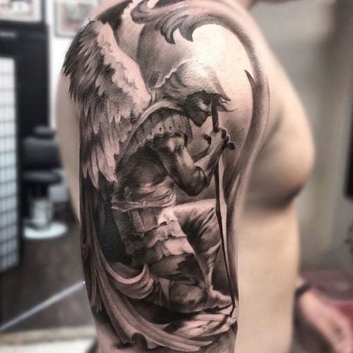 awesome-st-michael-fantasy-sleeve-tattoo