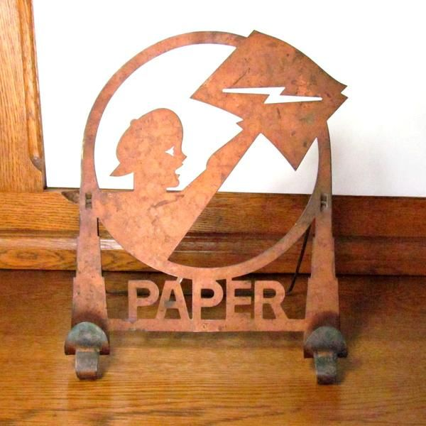 Vintage Metal Newsboy Silhouette Newspaper Stand Rack C Early 1900 S With Images Vintage Metal Newspaper Stand Bottle Opener Wall