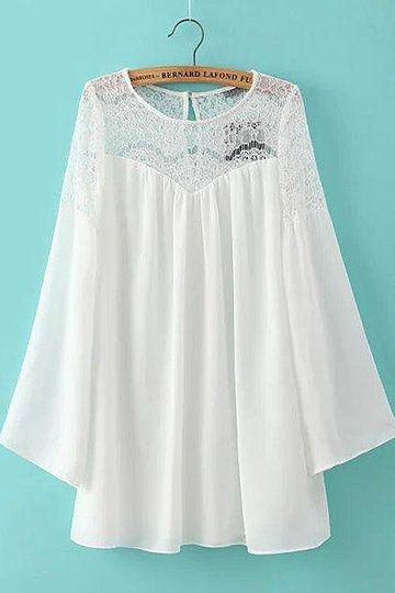 Кружева Вставьте Flared рукава Мини платье - US$23.95 -YOINS