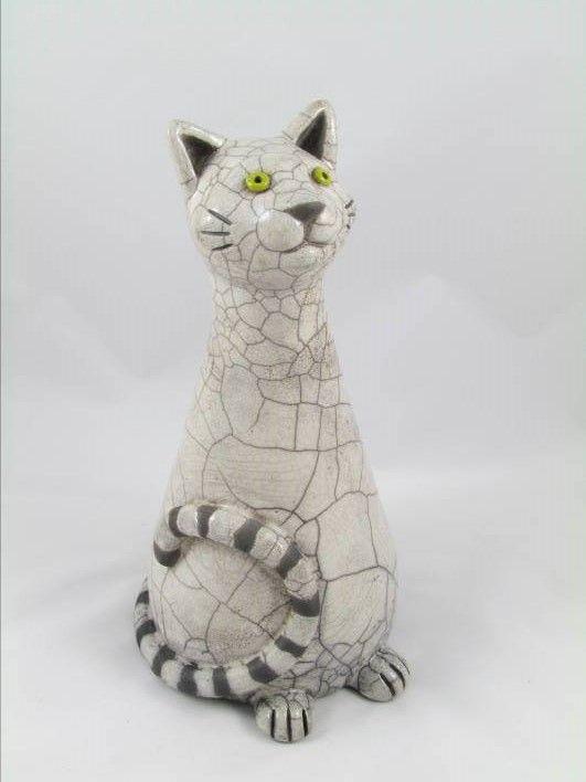 sculpture raku animal chat fait main pièce unique originale Danièle Meyer
