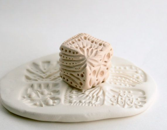"Clay Stamp Cube Six in One ""Dice"" Texture Stamp Abstract Handcarved Tool for Ceramics Pottery with Chevron, Lines, Dots"