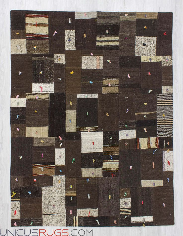 """Decorative naturel  kilim patchwork made from handwoven kilim pieces and backed with good quality cotton fabric as reinforcement. In very good condition. Width: 5' 11"""" - Length: 7' 10"""" PATCHWORKS"""