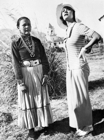 1/16/1932-Palm Springs, CA- Pola Negri, film actress, recuperating from her recent illness at Palm Springs, CA, had quite a chat with Na Glee Nonassa (the Peacemaker) Princess of the Navajo tribe of Native Americans living in that section. (via Corbis)