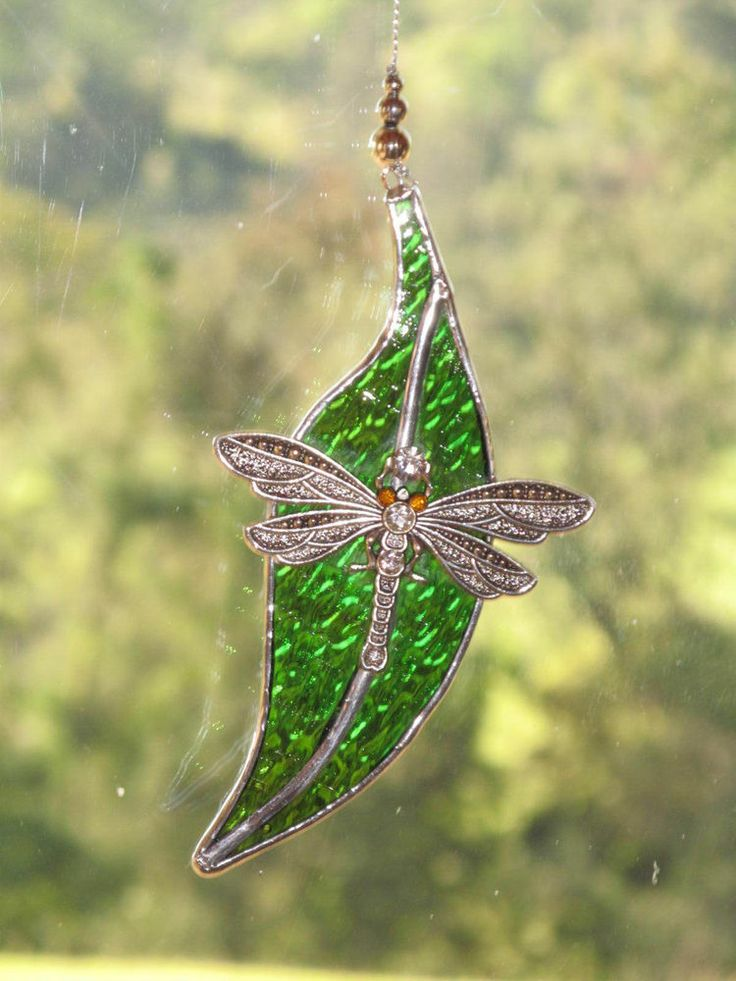Dragonfly on gumleaf  Stained Glass Leadlight Suncatcher 12 cm, Aust Handmade
