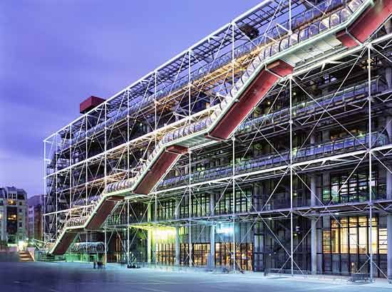 Centre Georges Pompidou, Paris. It was designed in the style of high-tech architecture. It houses the Bibliothèque publique d'information, a vast public library, the Musée National d'Art Moderne which is the largest museum for modern art in Europe, and IRCAM, a centre for music and acoustic research. Completed 1977. Architects: Renzo Piano, Richard Rogers and Gianfranco Franchini.