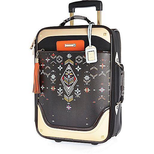 Valise à imprimé broderie noire avec roulettes - Trousses à maquillage/bagages - maroquinerie - femme