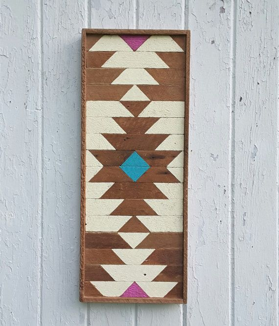 """Arte de pared de madera, madera de la pared decoración, listón arte, rectángulo, diamante Central, decoración de madera, casa reciclada, 9,75 """"X 25"""""""