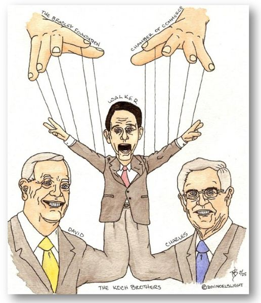 Scott Walker proves to be no more than a puppet for the Koch brothers' empire.