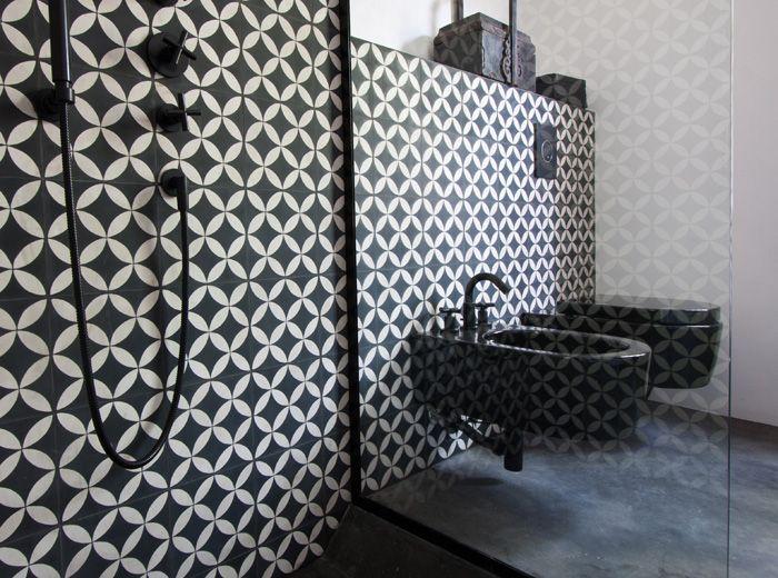 #bathroom #tiling #black&white
