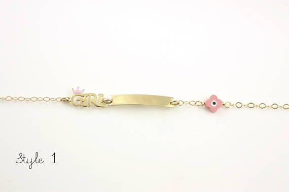Children's ID Bracelet, Kids Gold Bracelet, Gold Engraved Bracelet, Personalized Bar Bracelet, 14K Gold Bracelet, Baptism Bracelet, GB0387