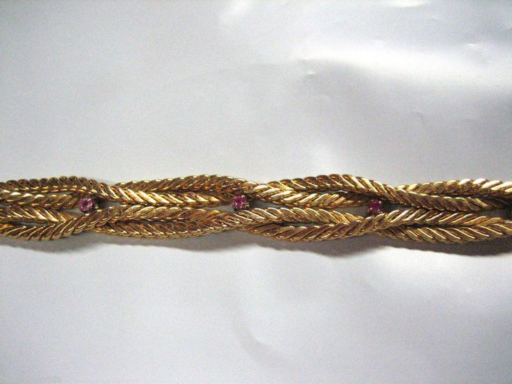 """VINTAGE 750 / 18K YELLOW GOLD PINK STONE BRAIDED S LINK CHAIN 7 1/2"""" BRACELET"""
